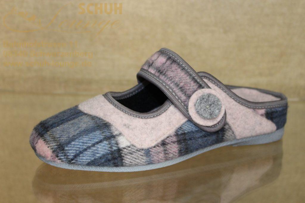 Hübsche Damen-Pantolette aus kariertem und rosafarbenem Filz mit durchgehender PU-Laufsohle. Der Klettverschluß variiert die Weite und gibt auch dem schmalen Fuß sicheren Halt. Durch das herausnehmbare Fußbett kann sie auch mit ihren Einlagen bequem getragen werden.