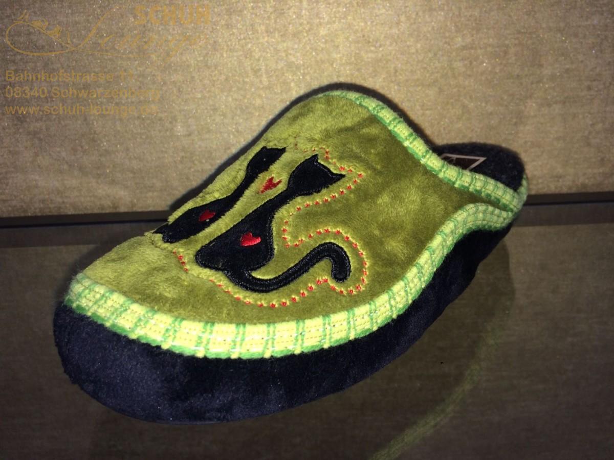 Damenpantoffel in grün/schwarz von Manitu